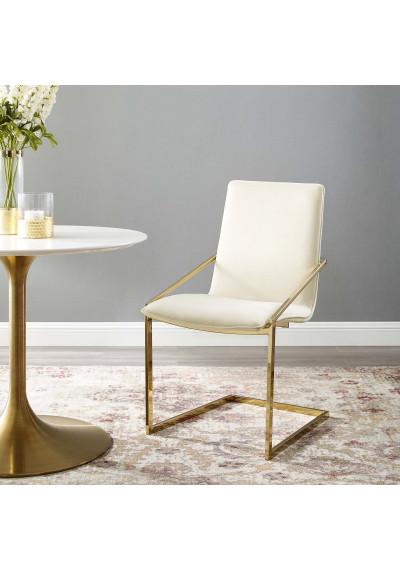 Ivory Velvet Gold Base Sleek Angular Accent Dining Chair