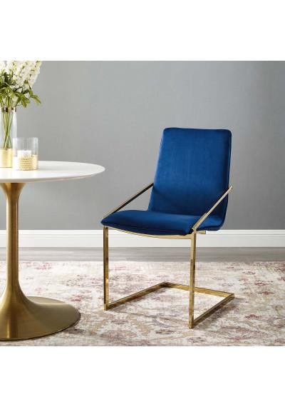 Blue Velvet Gold Base Sleek Angular Accent Dining Chair