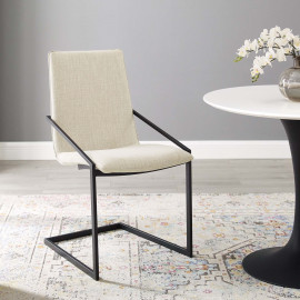 Beige Fabric Black Base Sleek Angular Accent Dining Chair