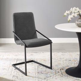 Dark Grey Fabric Black Base Sleek Angular Accent Dining Chair