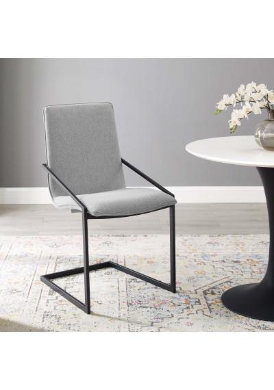 Light Grey Fabric Black Base Sleek Angular Accent Dining Chair
