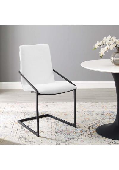 White Fabric Black Base Sleek Angular Accent Dining Chair
