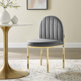 Grey Velvet Channel Tufted Gold Body Accent Dining Chair