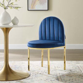 Blue Velvet Channel Tufted Gold Body Accent Dining Chair