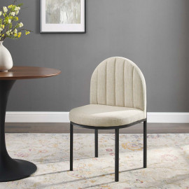 Beige Channel Tufted Fabric Black Body Accent Dining Chair