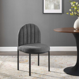 Dark Grey Channel Tufted Fabric Black Body Accent Dining Chair