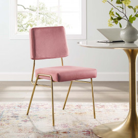 Pink Blush Rose Velvet Gold Body Mid Century Accent Dining Chair
