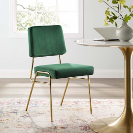 Forest Green Velvet Gold Body Mid Century Accent Dining Chair