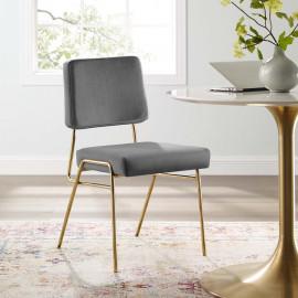 Grey Velvet Gold Body Mid Century Accent Dining Chair