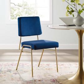 Blue Velvet Gold Body Mid Century Accent Dining Chair