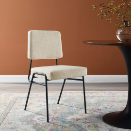 Beige Fabric Black Body Mid Century Accent Dining Chair
