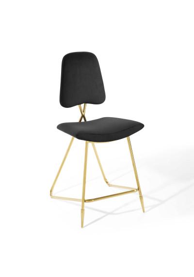 Black Velvet Gold Toothpick Leg Modern Counter or Bar Stool