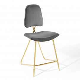 Grey Velvet Gold Toothpick Leg Modern Counter or Bar Stool