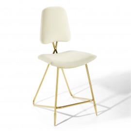Ivory Velvet Gold Toothpick Leg Modern Counter or Bar Stool