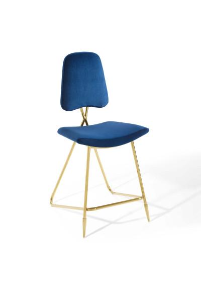 Blue Velvet Gold Toothpick Leg Modern Counter or Bar Stool