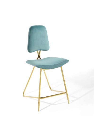 Sea Blue Velvet Gold Toothpick Leg Modern Counter or Bar Stool