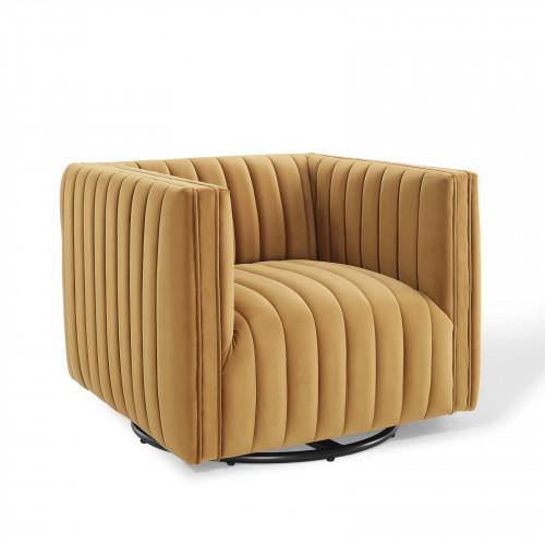 Yellow Mustard Cognac Velvet Vertical Channel Tufted Swivel Chair