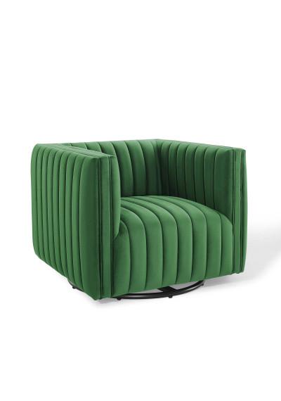 Green Velvet Vertical Channel Tufted Swivel Chair