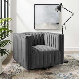 Grey Velvet Vertical Channel Tufted Swivel Chair