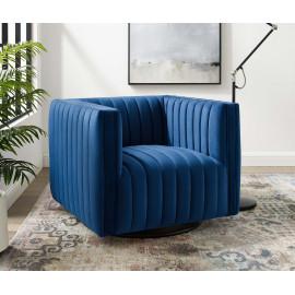 Blue Velvet Vertical Channel Tufted Swivel Chair