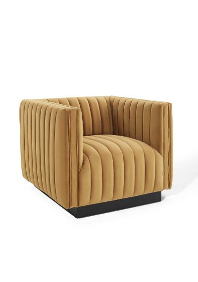 Yellow Mustard Cognac Velvet Vertical Channel Tufted Chair