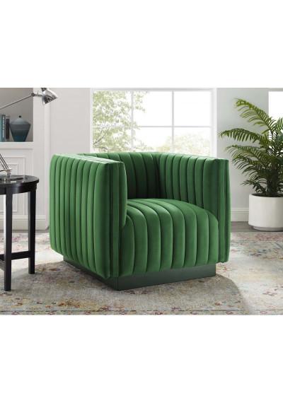 Green Velvet Vertical Channel Tufted Chair