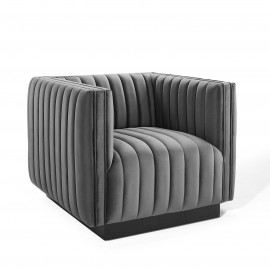 Grey Velvet Vertical Channel Tufted Square Chair