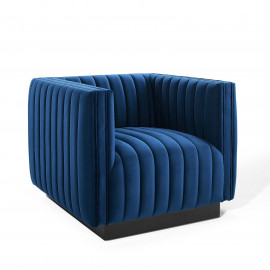 Blue Velvet Vertical Channel Tufted Square Chair