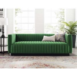 Green Emerald Velvet Vertical Channel Tufted Sofa