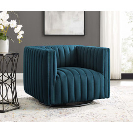 Blue Fabric Vertical Channel Tufted Swivel Chair