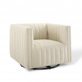 Beige Fabric Vertical Channel Tufted Swivel Chair