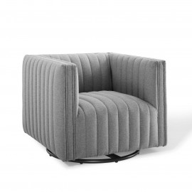 Grey Fabric Vertical Channel Tufted Swivel Chair