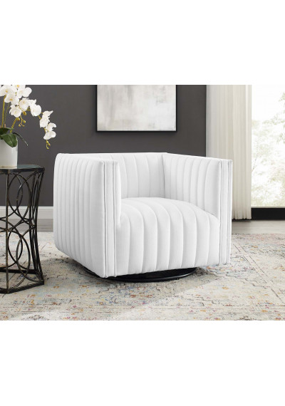 White Fabric Vertical Channel Tufted Swivel Chair