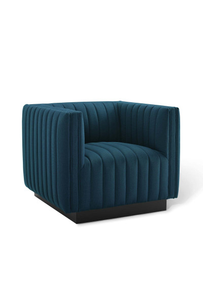 Blue Fabric Vertical Channel Tufted Square Chair