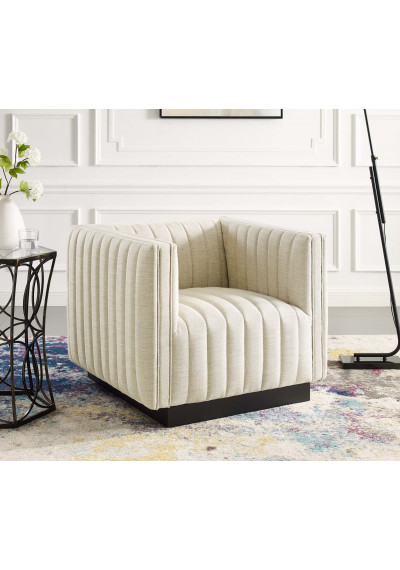 Beige Fabric Vertical Channel Tufted Square Chair