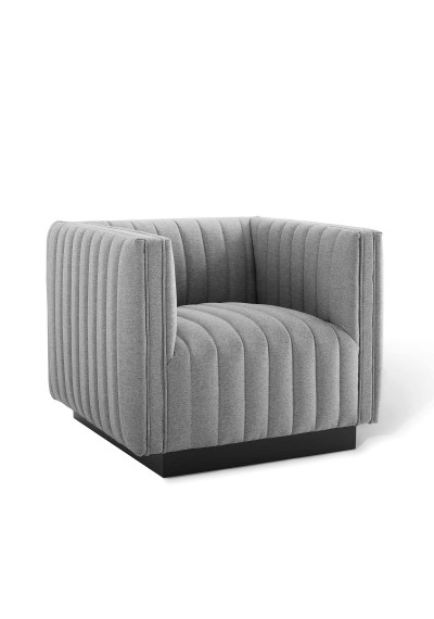 Grey Fabric Vertical Channel Tufted Square Chair