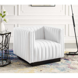White Fabric Vertical Channel Tufted Square Chair