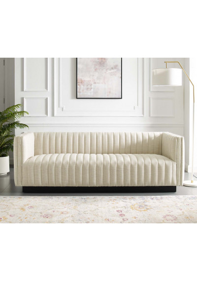 Beige Fabric Vertical Channel Tufted Sofa