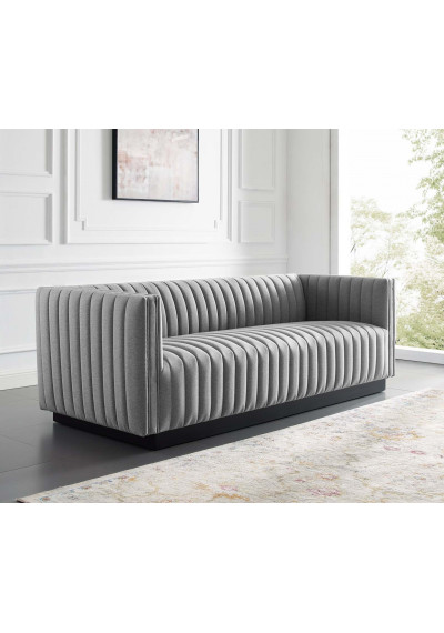 Grey Fabric Vertical Channel Tufted Sofa