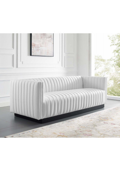 White Fabric Vertical Channel Tufted Sofa
