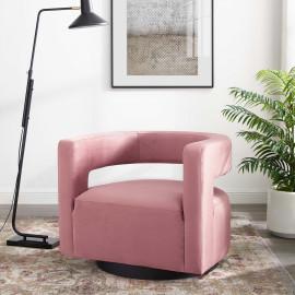 Pink Blush Velvet Swivel Glam Deco Style Lounge Chair