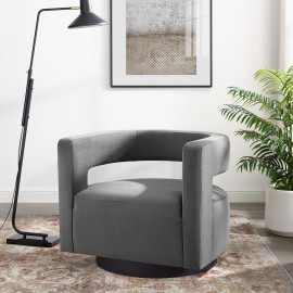 Grey Velvet Swivel Glam Deco Style Lounge Chair