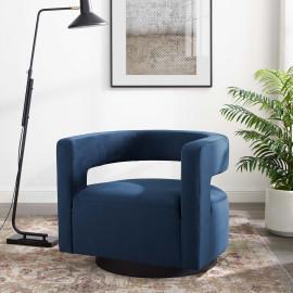 Blue Velvet Swivel Glam Deco Style Lounge Chair