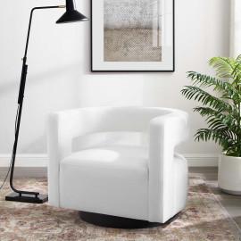 White Velvet Swivel Glam Deco Style Lounge Chair