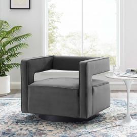Grey Velvet Swivel Square Cut Back Lounge Chair