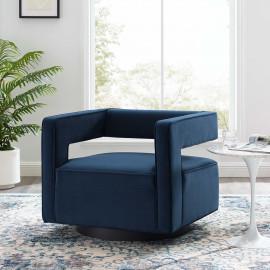 Blue Velvet Swivel Square Cut Back Lounge Chair