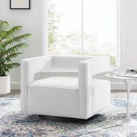 White Velvet Swivel Square Cut Back Lounge Chair