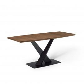 Angular Wood Top Black Geometric Matte Iron X Base Dining Table