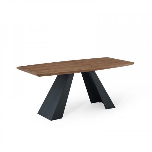 Angular Wood Top Black Matte Iron Base Dining Table