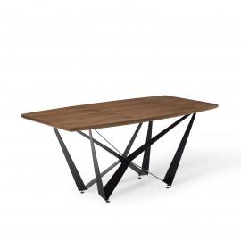 Angular Wood Top Black Geometric Matte Iron Base Dining Table